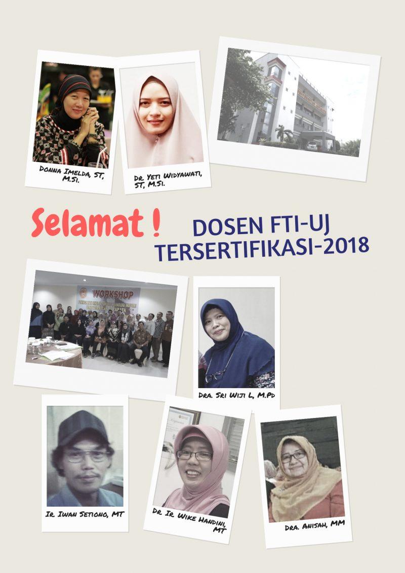 Selamat! Dosen FTI-UJ tersertifikasi 2018